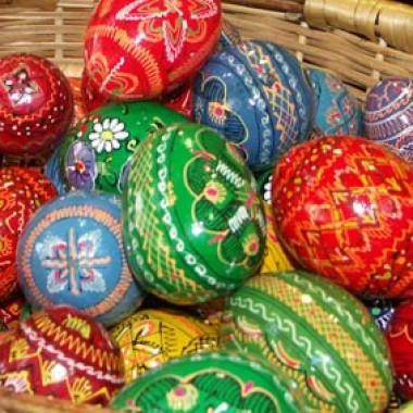 Painted wooden easter eggs charity sale